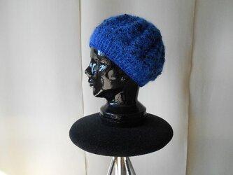 ブルーモヘアのスパンコールベレー帽の画像
