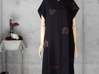 着物リメイク チュニックワンピース/ フリーサイズ /ブラックの画像