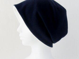 ゆるいリバーシブル帽子 紺 白タオル  (CSR-012-I3)の画像