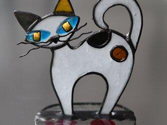 ステンドグラス お目目がキラリ アートなネコさんの画像