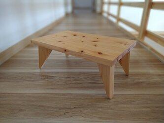 無垢ヒノキのミニテーブル ケース付き【ウォルナットオイル仕上げ】の画像