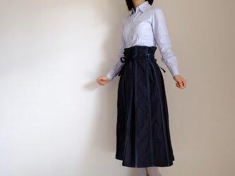 秋の新作・ジップリーツスカート / ロング / コットン 【 ネイビー 】/ zipleats skirt <受注制作>の画像