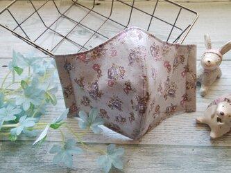 送料無料✴グレーベースに紫の小花がシックな秋マスクです✴裏地に涼感加工ガーゼ使用✴の画像