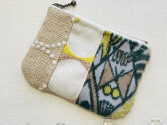 z50●ミニポーチ(ミナペルホネン服飾生地パッチワーク桃黄緑)の画像