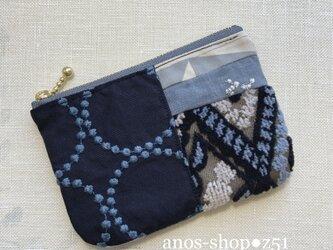 z51●ミニポーチ(ミナペルホネン服飾生地パッチワーク青紺灰)の画像