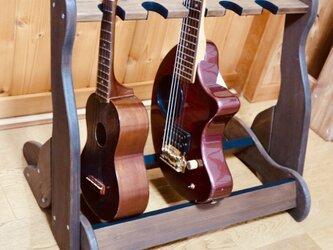 手作り木工 ウクレレ・ミニギタースタンド (古材、チーク) 5本掛けの画像