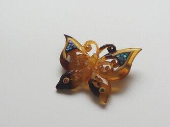 【ヴィンテージリメイク】べっ甲螺鈿ブローチ butterflyの画像