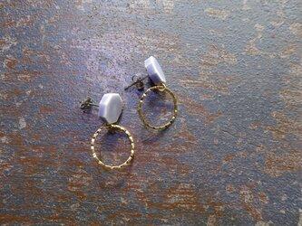 八角とgold ringの陶ピアス/イヤリング(ラベンダー)の画像