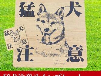 【送料無料】Big猛犬注意サインプレート(柴犬)木目調アクリルプレートの画像