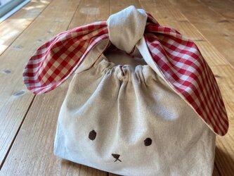 うさぎのお弁当袋L赤ギンガム (送料無料)の画像