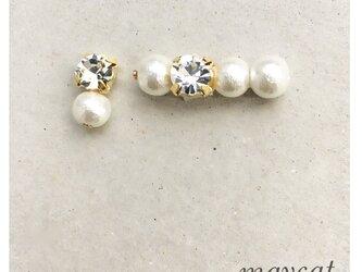 crystal and cotton pearl…イヤリング*イヤーカフsetの画像