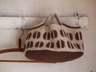 コーヒー豆の横長オーバルトート*ミルクコーヒー・チョコブラウンの画像