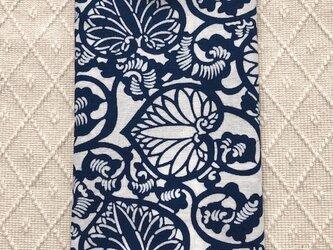 天然藍の型染め手拭い 葵唐草 の画像