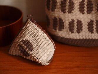 コーヒー豆のテトラポーチ*ミルクコーヒー・チョコブラウンの画像