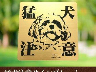【送料無料】猛犬注意サインプレート(マルチーズ)GOLDアクリルプレートの画像