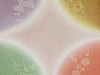 風呂敷 ふろしき    引染 四君子 ハトバ 正絹 絹100% 45cm×45cmの画像