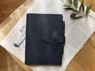 B6サイズ/イタリア革の手帳カバー/ネイビーの画像