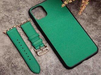 高級革使用のApple Watchベルト アイホンケース セット 時計ベルト  レザー 腕時計 革ベルト 皮 革の画像