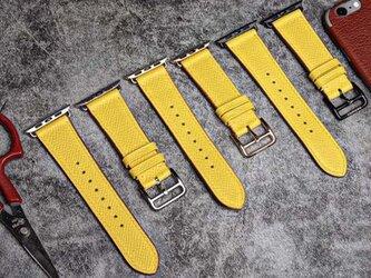 【永久保証】高級革使用のApple Watchベルト 時計ベルト  レザー イエロー 腕時計 革ベルト 皮 革の画像
