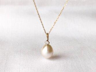 K10 あこや ダイヤモンド drop ペンダントの画像