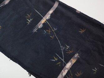 mi0041銘仙・竹紋様ハギレ・120cm☆古布・古裂/絞り/錦紗縮緬/正絹/人絹/モスリンの画像