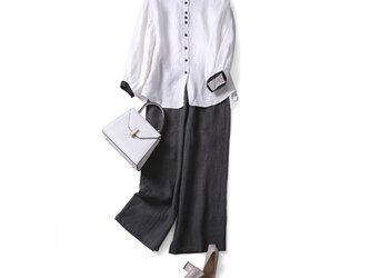 大人可愛いコーデの主役 配色 リネン100% ブラウス シャツ 200912-1の画像