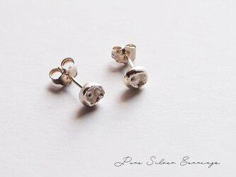 変形くぼみ 純銀つぶピアス pure silverピュアシルバーの画像
