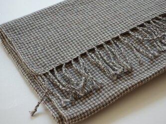 手織りカシミアストール・・オリーブグリーン×ミックスベージュの画像