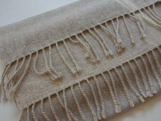 手織りカシミアストール・・オートミールの画像