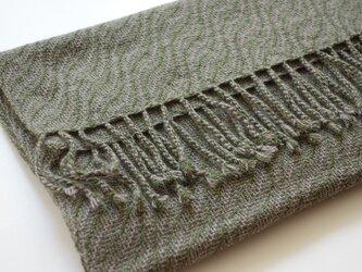 手織りカシミアストール・・葉っぱの画像