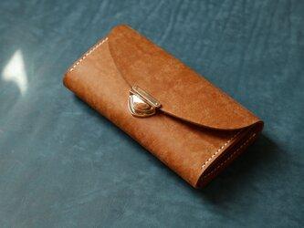 長財布 レディース 革 大容量 牛革手作り手縫い収納オルガン長財布 総手縫いの画像