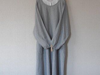 綿麻のかっぽう着 紺ストライプの画像