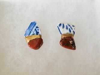 金継ぎx天然石ピアス(シー陶器、アゲート 南蛮瑪瑙)の画像