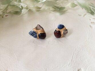 金継ぎx天然石ピアス(シー陶器、ガーネット、オーラライト)の画像