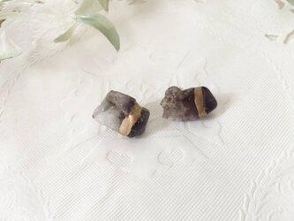 金継ぎx天然石ピアス(アメジスト、スーパーセブン)の画像