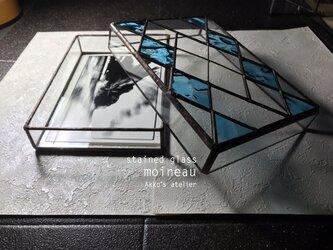 ステンドグラス 【蓋付 コレクションボックス・トパーズ】 ポストカードボックス ジュエリーケース ペンケース   の画像