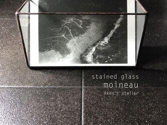 ステンドグラス シンプル ガラス収納ケース メイクボックス はがきスタンド カードホルダー フォトスタンド の画像