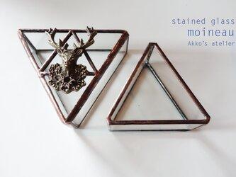 ステンドグラス【鹿エンブレムのトライアングルBOX】 リングピロー 小物入 お香立て 灰皿の画像