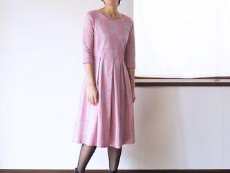 【XS-LL受注制作】アーミッシュ風シンプルワンピース◇ブロックチェック柄ジャガード(ピンク)の画像