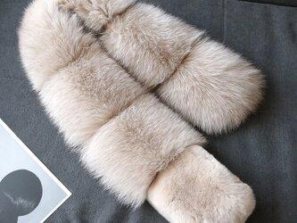 ¶ new antique fur ¶ ベージュフォックスデザインショールマフラーの画像