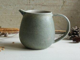 ピッチャー マットなグレーブルー系 内側グレー 陶器の画像