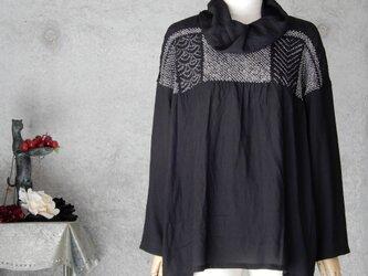 着物リメイク 黒の兵児帯 チュニックブラウス/M〜Lの画像