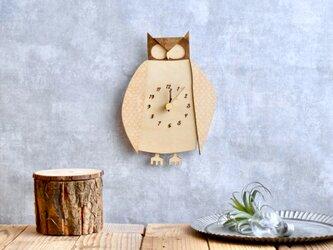 コノハズクの時計 木製 掛け時計の画像
