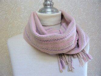 草木染毛糸の手織りマフラー M-123の画像