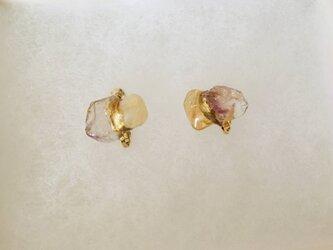 金継ぎx天然石イヤリング(シトリン、スーパーセブン)の画像