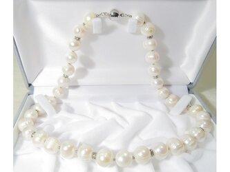 11.0-10.5mm本真珠(淡水)のネックレス(48cm、マグネット、ナチュラルカラー、ホワイト)の画像