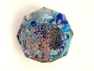 生命の樹 幸運 金運 カリスマ性 ストレスの緩和 伝説のオリハルコン入り メモリーオイル入り コースター型 オルゴナイトの画像