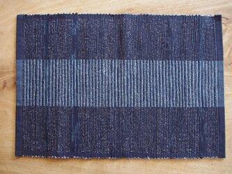 紺色のたっぷり大きいランチョンマット 木綿・裂き織りの画像
