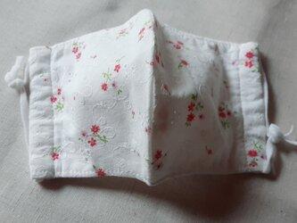 綿100% 国産涼感ガーゼ 立体マスク 刺繍 レース 花柄の画像