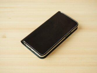 牛革 iPhone 11 Pro Max カバー  ヌメ革  レザーケース  手帳型  ブラックカラーの画像